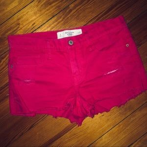 A&F pink denim shorts